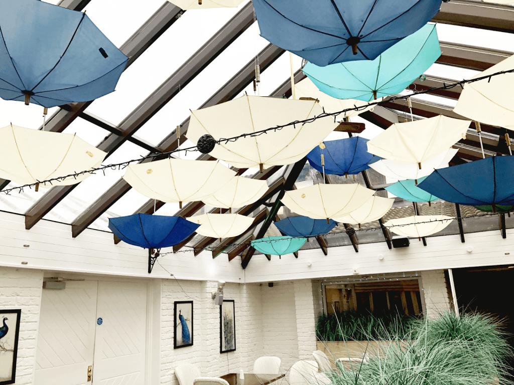Blue hanging umbrellas in the Lea Marston