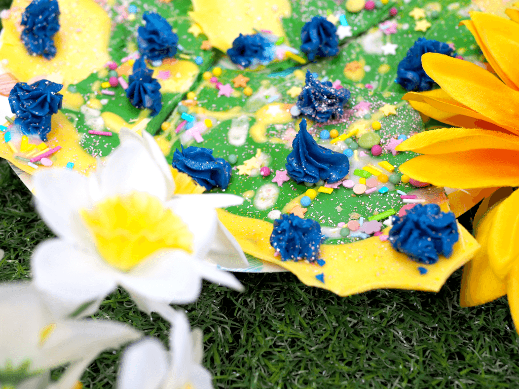 Spring themed chocolate bark with an easy recipe